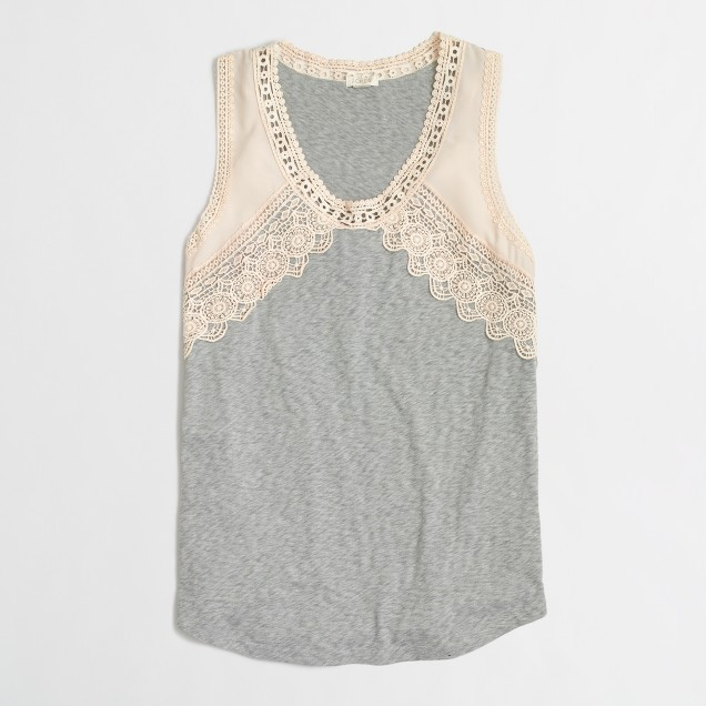 Airy cotton lace-trim tank top
