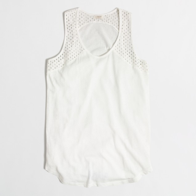 Airy cotton eyelet tank top