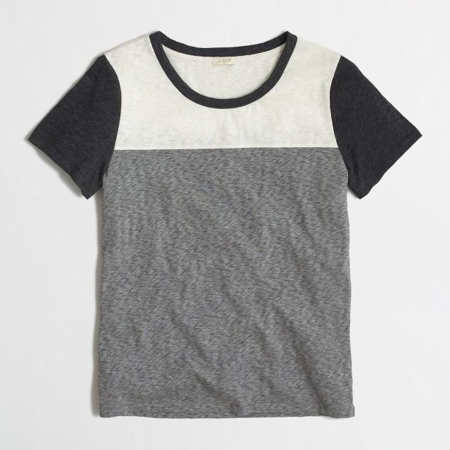 Colorblock sketched cotton T-shirt