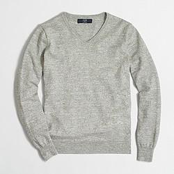 Factory slim textured cotton V-neck sweater