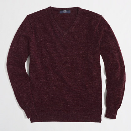 Slim textured cotton V-neck sweater