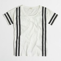 Sketched cotton T-shirt with vertical stripes