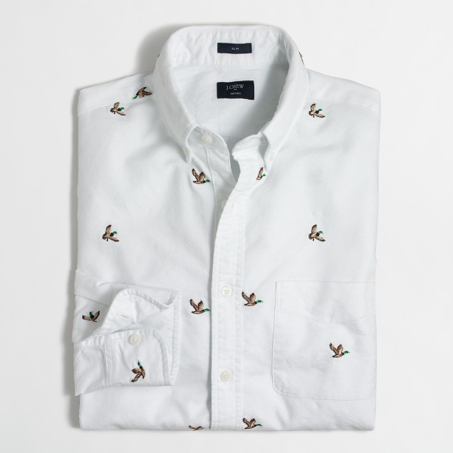 Slim embroidered oxford shirt