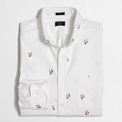 Factory slim embroidered oxford shirt