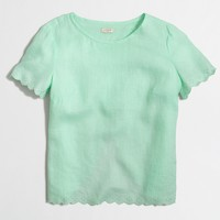 Crossed-back linen t-shirt