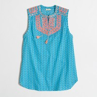 Petite printed embroidered tassel top