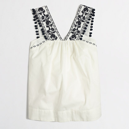 Embroidered pom-pom tank top