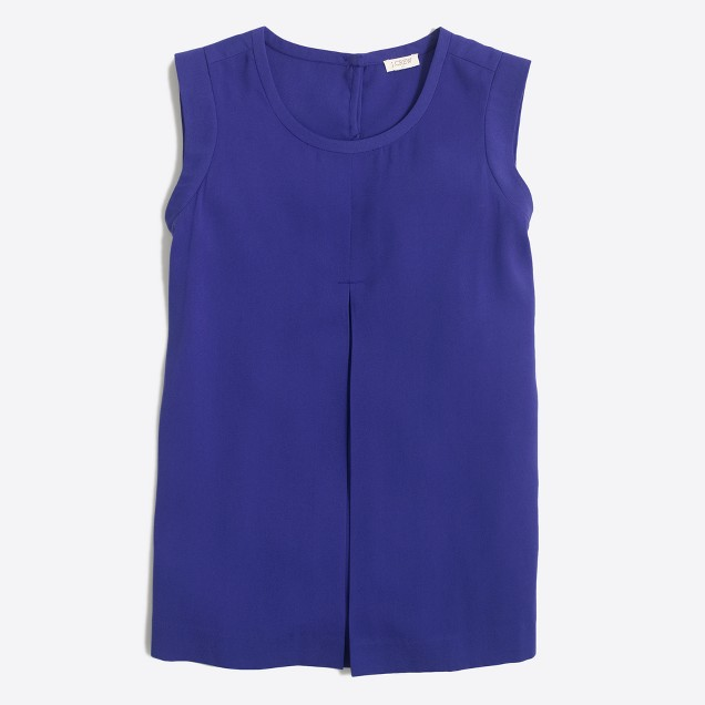 Pleated-front crepe top