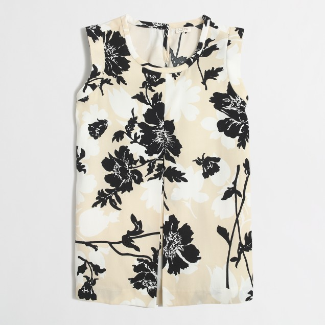 Printed pleated-front crepe top