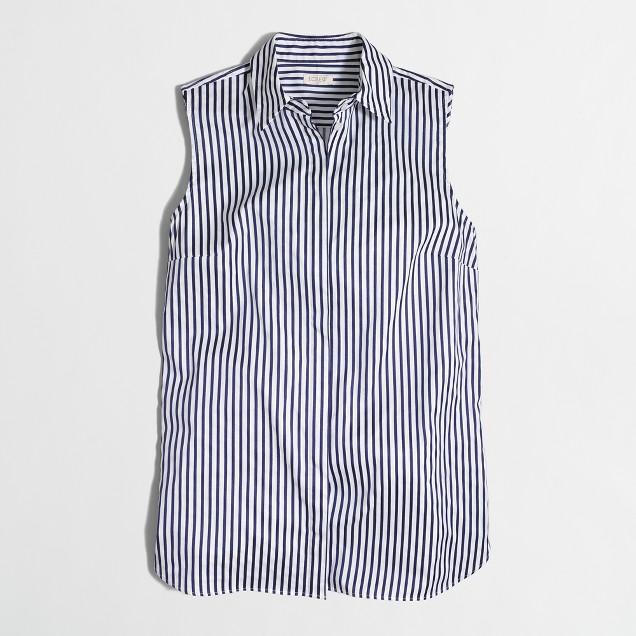 Striped sleeveless button-down shirt