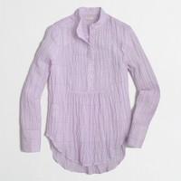 Puckered gingham gauze popover shirt
