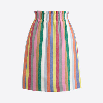 Mixed-stripe linen-cotton sidewalk mini skirt