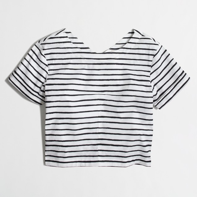Striped swing top with zip back