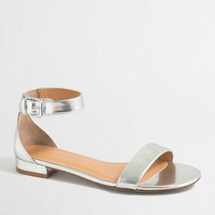 Mirror metallic ankle-strap sandals