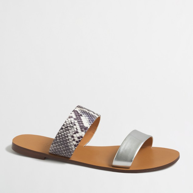 Snakeskin embossed boardwalk sandals