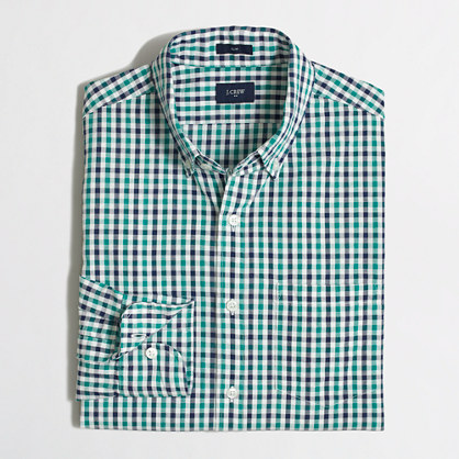 Slim seersucker shirt in gingham