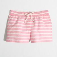 Linen-cotton Drawstring Short in stripe