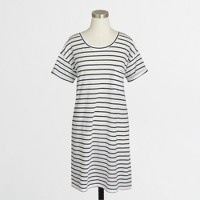 Striped rolled-sleeve t-shirt dress