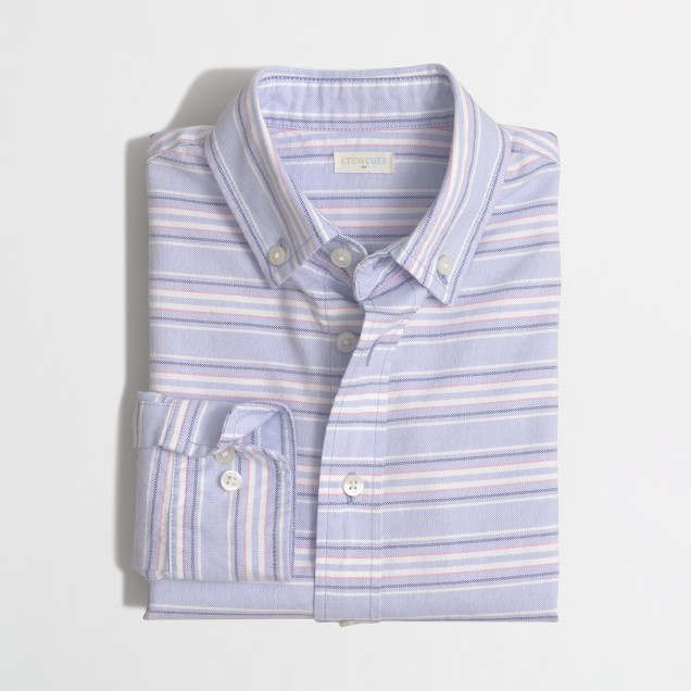 Boys' horizontal-striped oxford shirt