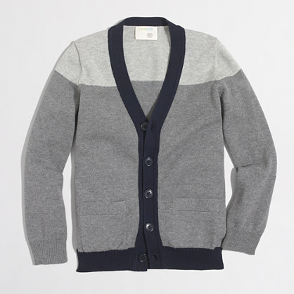 Boys' tipped colorblock cardigan sweater