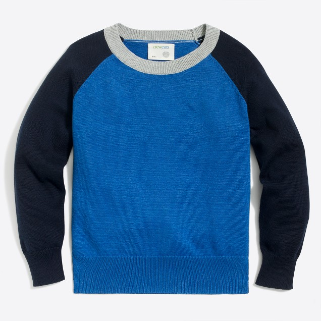 Boys' colorblock baseball sweater