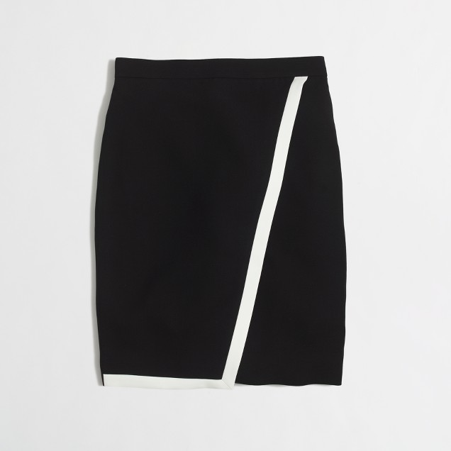 Tipped crepe wrap pencil skirt