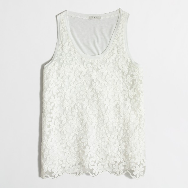 Petite lace-front tank top