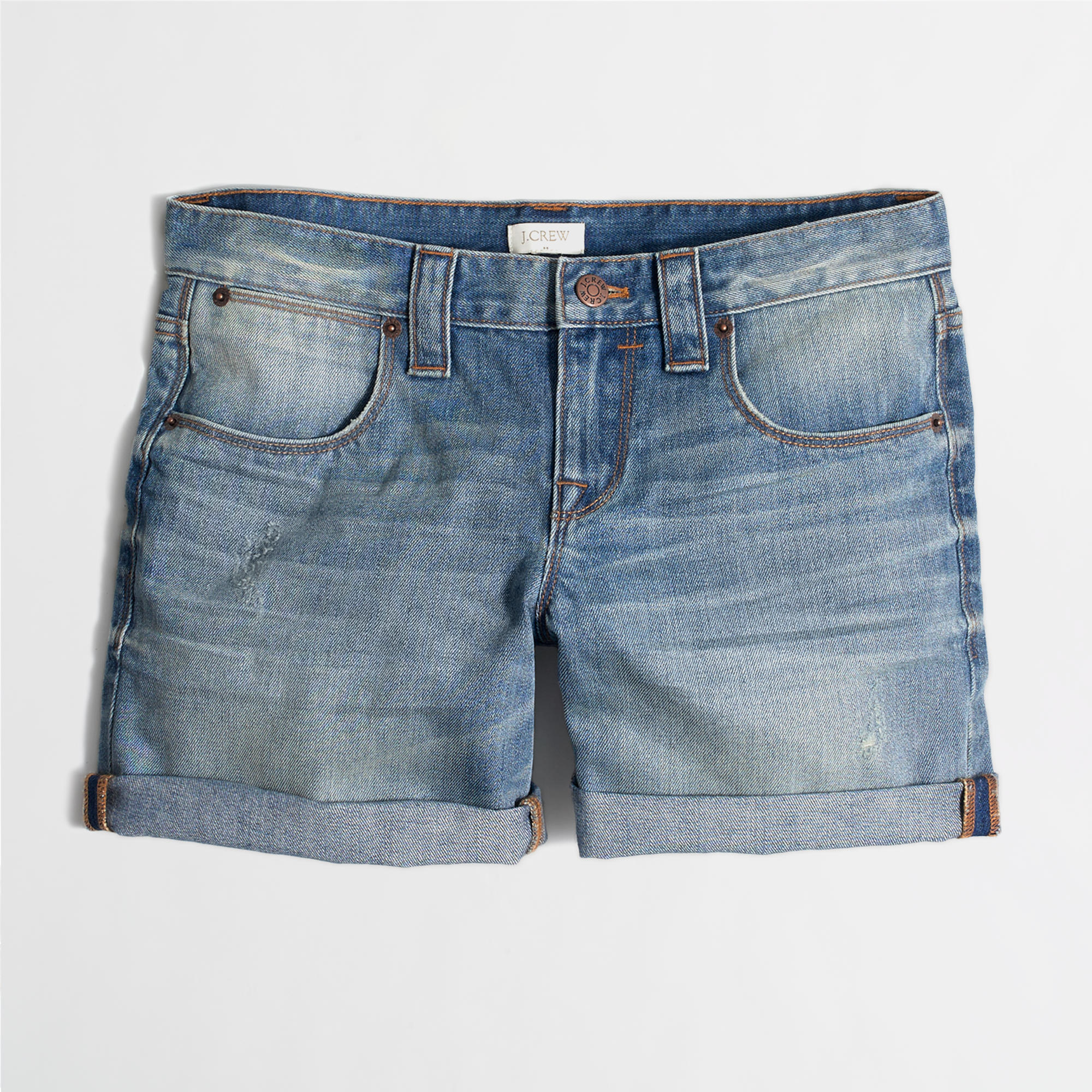 Cuffed denim short : | Factory
