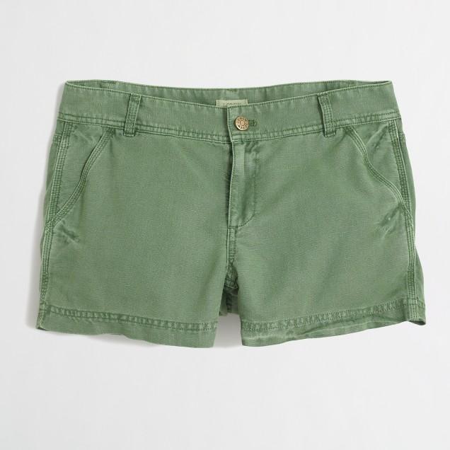 Garment-dyed linen-cotton short