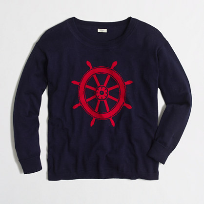 Intarsia ship wheel sweater