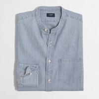 Chambray band-collar shirt