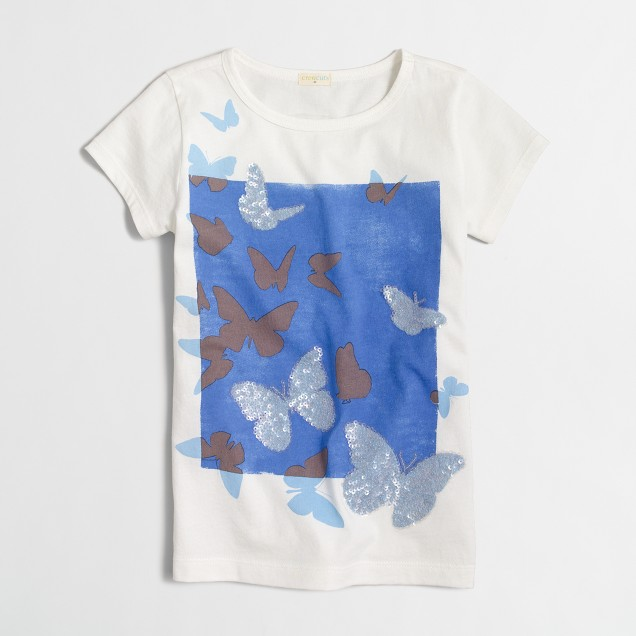 Girls' sequin butterfly keepsake t-SHIRT