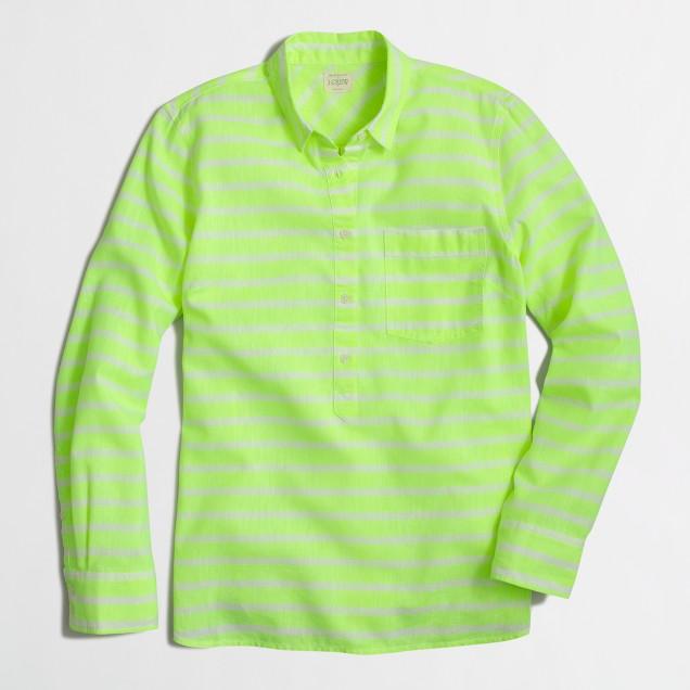 Neon-striped popover shirt