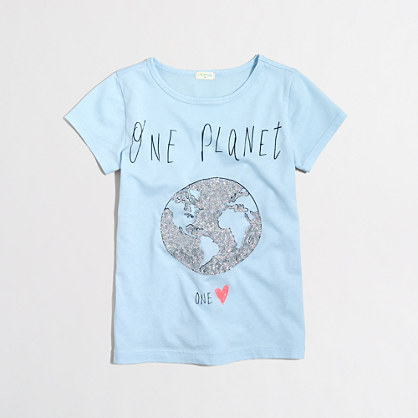 Girls' sequin one world keepsake t-SHIRT