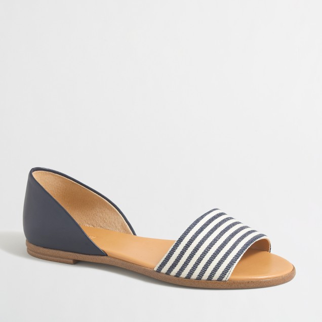 Striped peep-toe d'Orsay flats