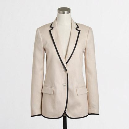 Tipped linen blazer