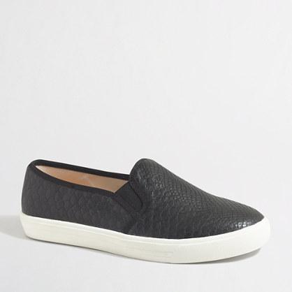 Snakeskin embossed slip-on sneakers