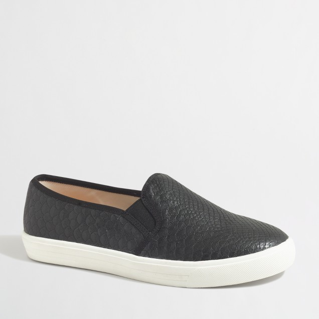 Snakeskin embossed slip-on sneakers