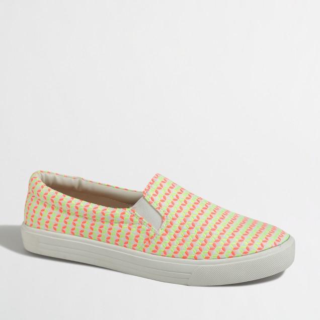 Neon geometric slip-on sneakers
