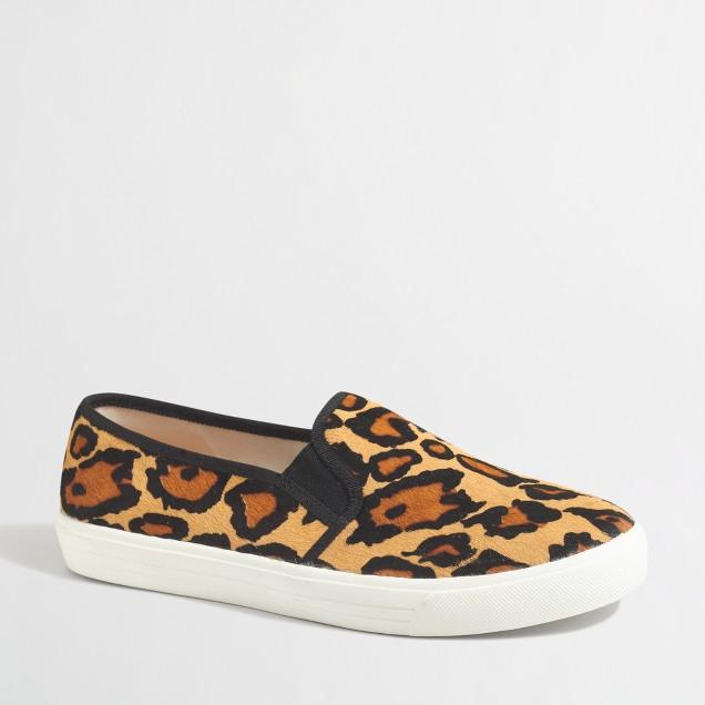 Leopard calf hair slip-on sneakers