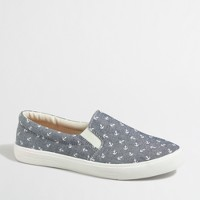 Anchor chambray slip-on sneakers