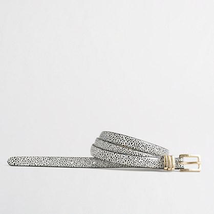 Skinny printed leather belt