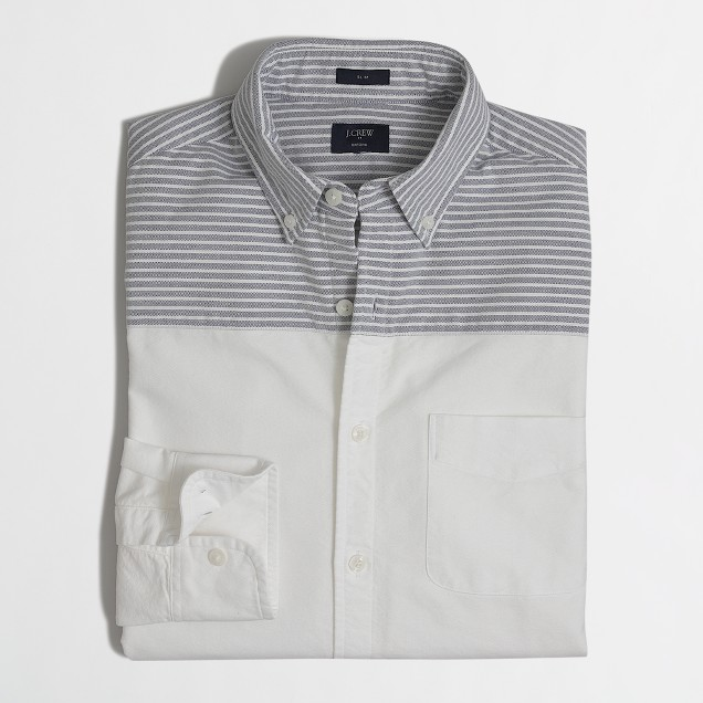 Slim pieced-shoulder oxford shirt