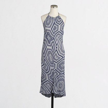 Printed gauzy halter dress