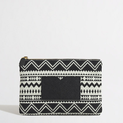 Pouch with cardholder in geometric shapes