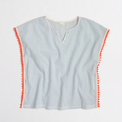 Girls' striped pom-pom tunic