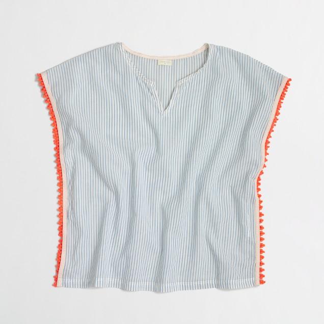 Girls' striped pom-pom tunic