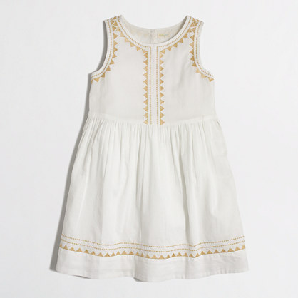 Girls' metallic embroidered dress