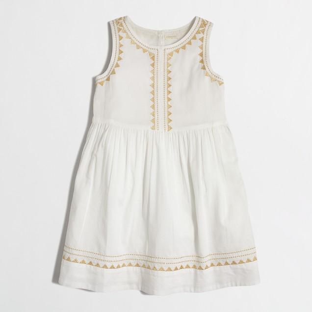 Girls' metallic embroidered dress