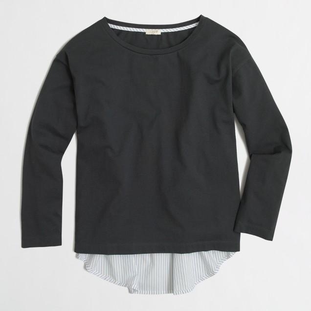 Petite long-sleeve mixed-media T-shirt
